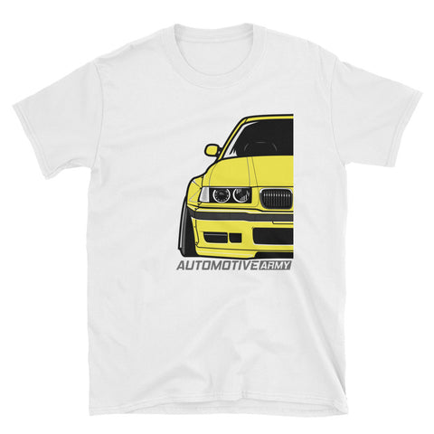 Dakar Yellow E36 Widebody Unisex T-Shirt Dakar Yellow E36 Widebody Unisex T-Shirt - Automotive Army Automotive Army