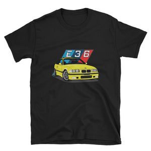 Yellow E36 Unisex T-Shirt Yellow E36 Unisex T-Shirt - Automotive Army Automotive Army