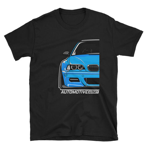 Laguna Seca Blue Wide E46 Unisex T-Shirt Laguna Seca Blue Wide E46 Unisex T-Shirt - Automotive Army Automotive Army