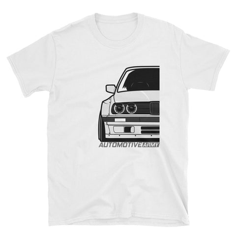 White E30 Widebody Unisex T-Shirt White E30 Widebody Unisex T-Shirt - Automotive Army Automotive Army
