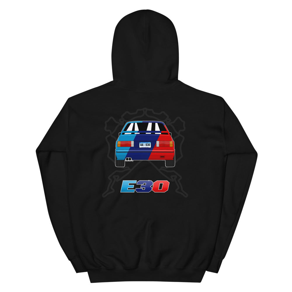 E30 Rear Multicolor Hoodie E30 Rear Multicolor Hoodie - Automotive Army Automotive Army