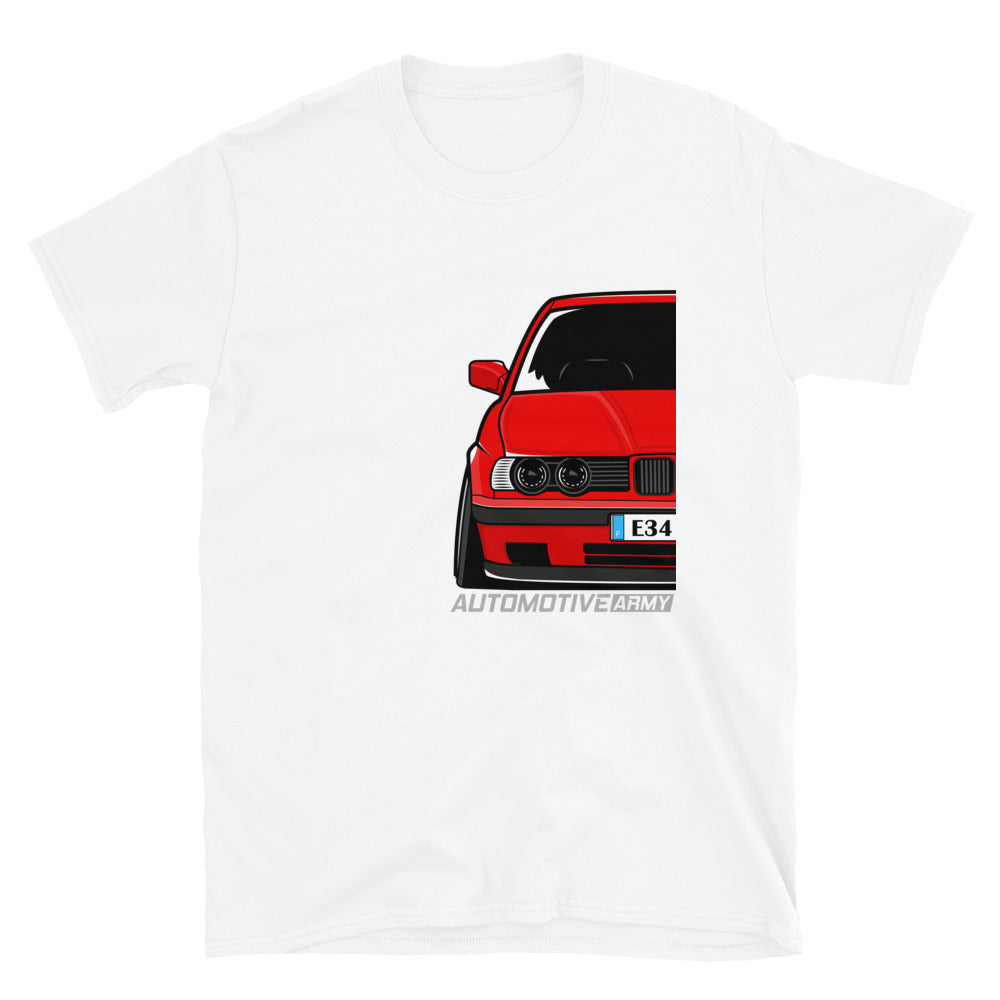 Red Slammed E34 Unisex T-Shirt Red Slammed E34 Unisex T-Shirt - Automotive Army Automotive Army
