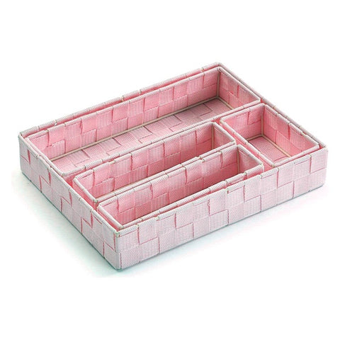 Set of Stackable Organising Boxes Textile (5 Pieces) (6 x 34 x 26 cm)