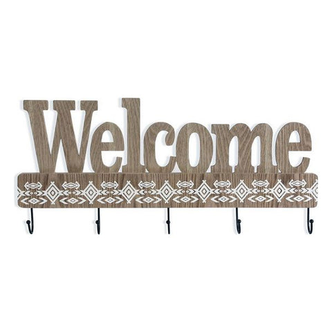 Wall mounted coat hanger Welcome MDF Wood (5 x 27,5 x 60 cm)