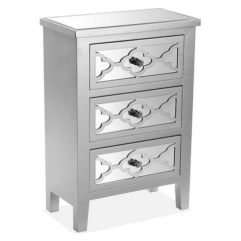 Chest of drawers Silke MDF Wood (25 x 69 x 48 cm) Silver