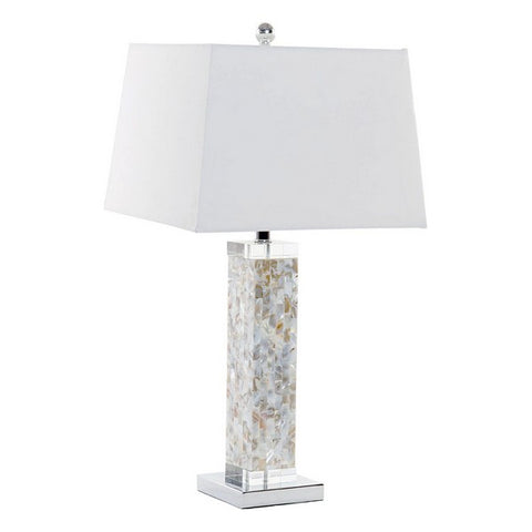 Desk Lamp Dekodonia Polyester Linen Crystal Mother of pearl (36 x 36 x 70 cm)