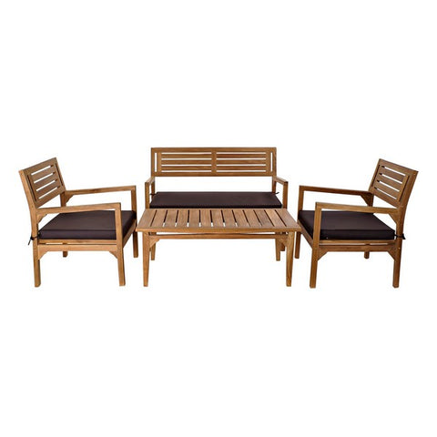 Table Set with 3 Armchairs DKD Home Decor Teak (4 pcs)