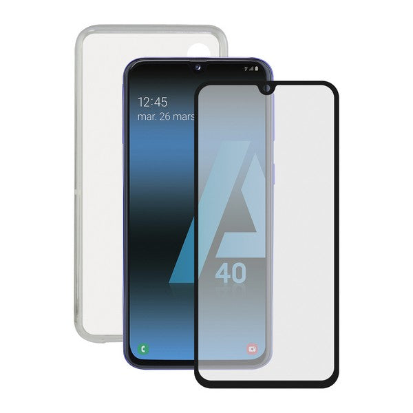 Tempered Glass Mobile Screen Protector + Mobile Case Samsung Galaxy A40 Contact Flex TPU