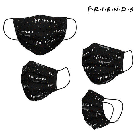 Hygienic Reusable Fabric Mask Friends Adult Black