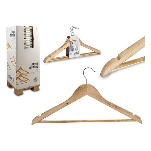 Set of Clothes Hangers Wood Natural (3 Pieces)