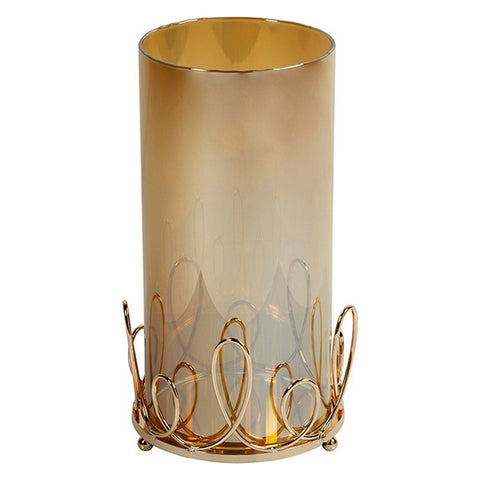 Circular Candelabra with Stand Art Crystal Brass (13 x 13 x 24 cm)