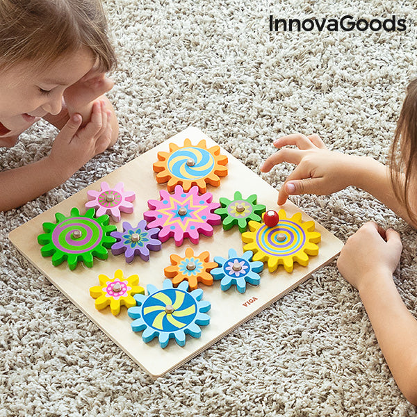 Wooden Gear Set Engenius InnovaGoods 12 Pieces