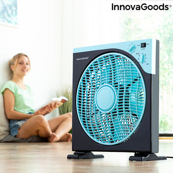 Floor Fan Box InnovaGoods Ø 30 cm 50W Black Blue