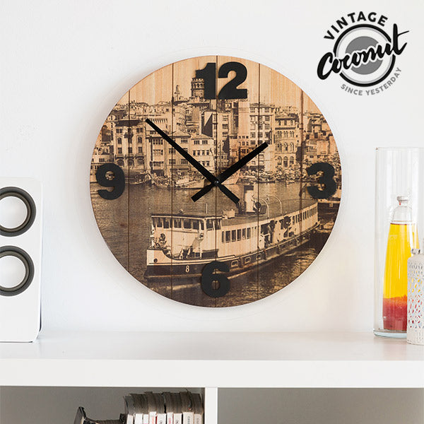 Vintage Coconut Cities Wall Clock