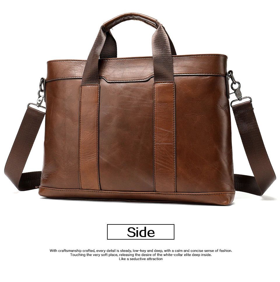 5ecc1f1be7 Genuine Leather Shoulder Bag For Men Stylish Laptop Bag Briefcase Crossbody  Commuter Travel Bag 100%
