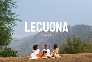 the lecuona spring summer campaign made in AvoLeather, hides tanned with avocado waste with a protection against bacteria and other diseases like influenza.