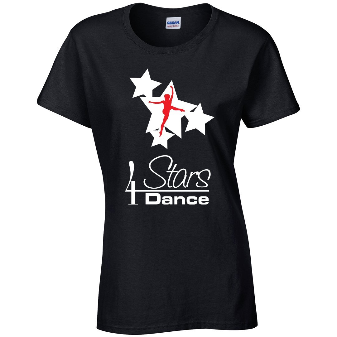4 Stars Dance: Girls Fitted T-Shirt 4 Stars Dance Youth: 3-4 White & Red