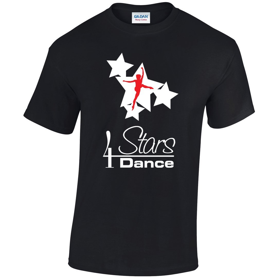 4 Stars Dance: Unisex T-Shirt 4 Stars Dance Youth: 3-4 White & Red