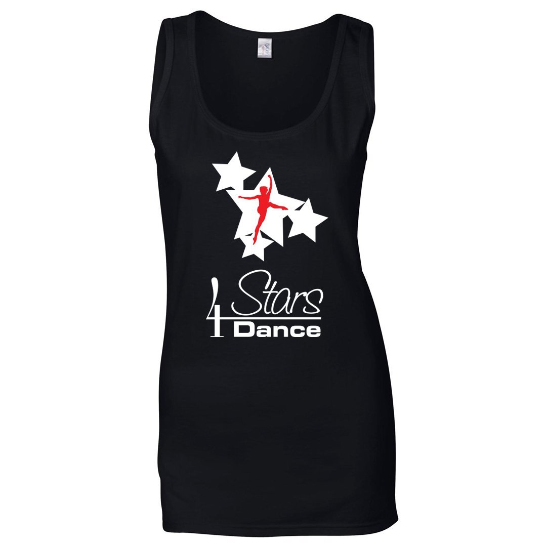 4 Stars Dance: Women's Tank Top 4 Stars Dance Adults: S White & Red