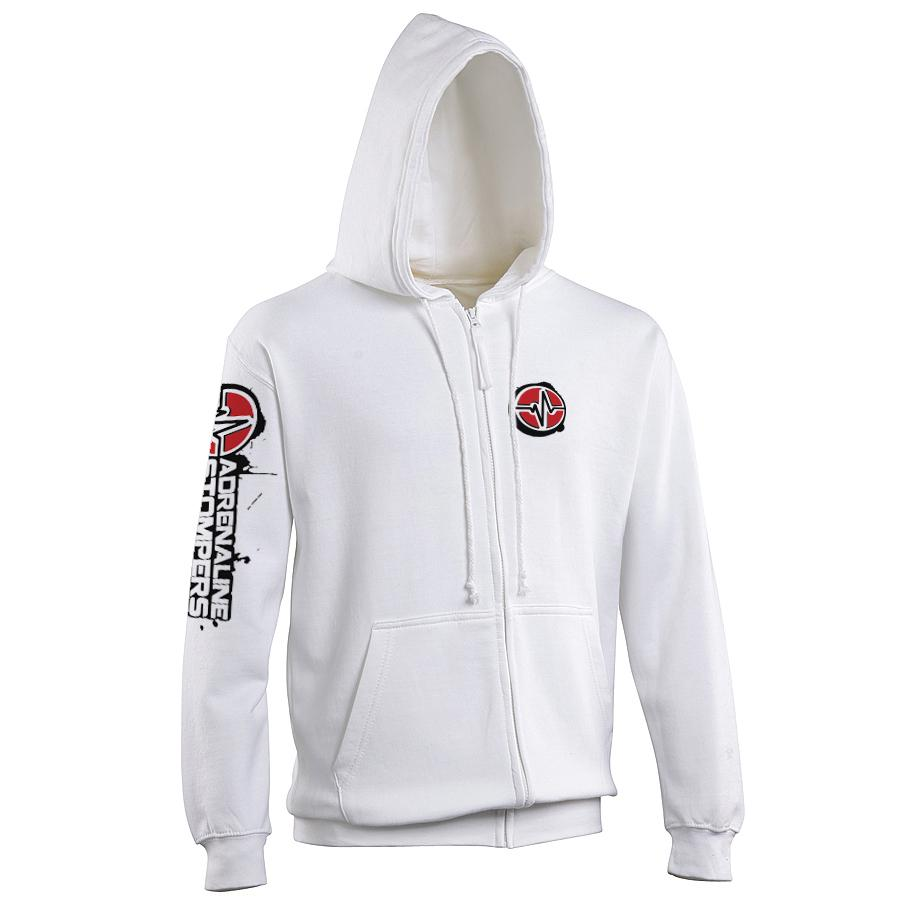 Adrenaline Stompers Unisex Zipped Hoodie Adrenaline Stompers Small White