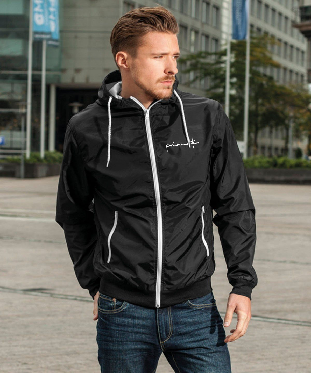 Black & White Wind Runner Jacket Primate Fashion