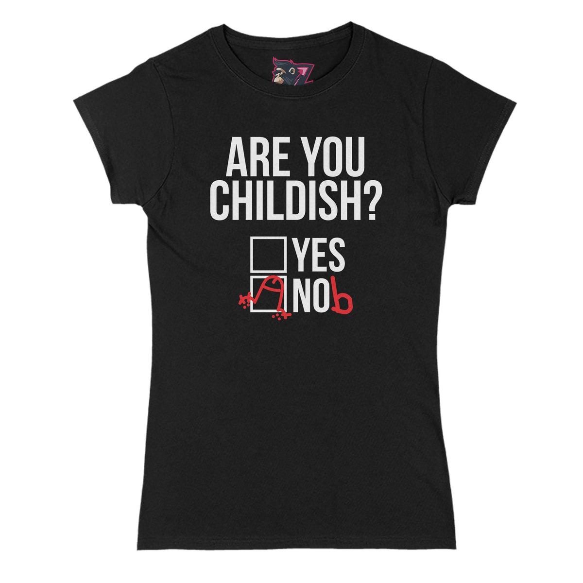 Childish? Yes/Nob Primate Novelty Women's T-Shirt Adults: S