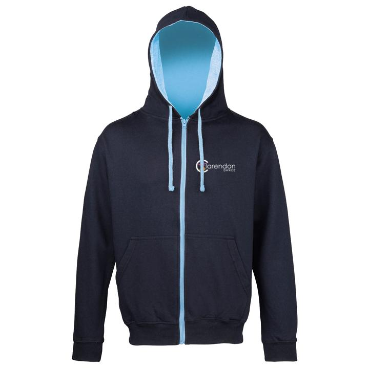 Clarendon Dance Varsity Zipped Hoodie (JH053) customisable Clarendon Dance Navy / Sky Blue Adult: Small