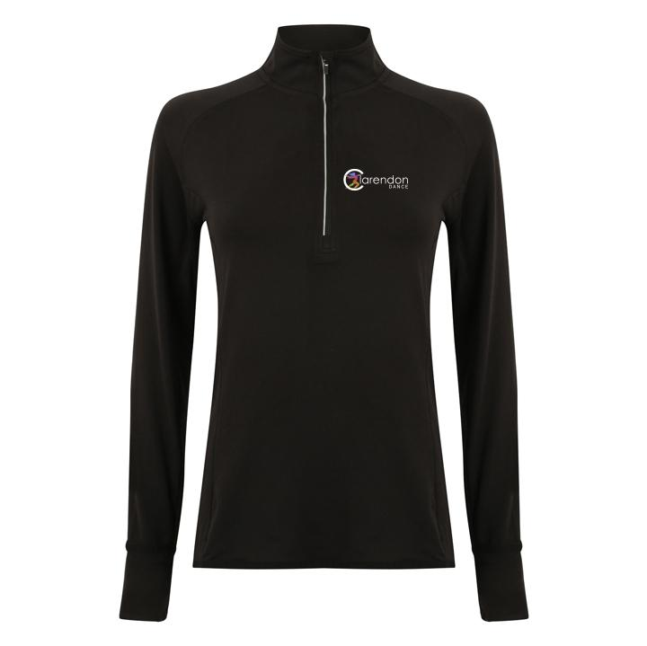 Clarendon Dance Women's Long Sleeve ¼ Zip Top (TL563) customisable Clarendon Dance
