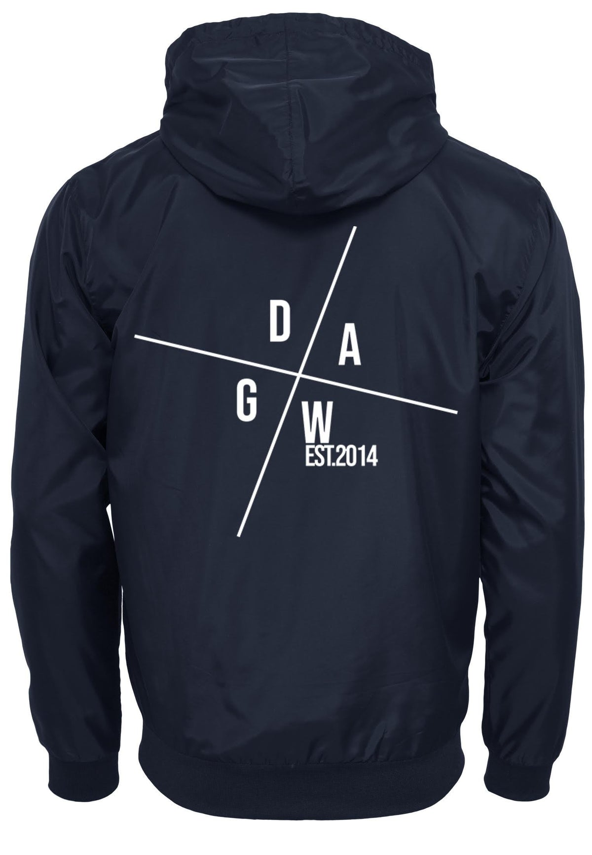 DAWG Compass Windrunner (BY016) - Front & Back Print DAWG S Navy