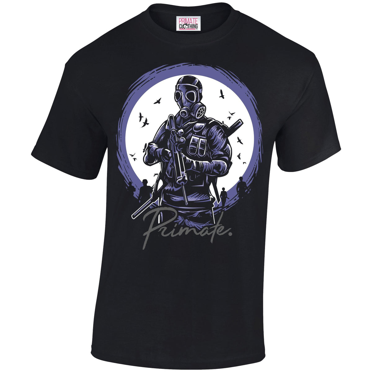 Gas Mask Soldier - T-Shirt Primate. Fashion Unisex: Small