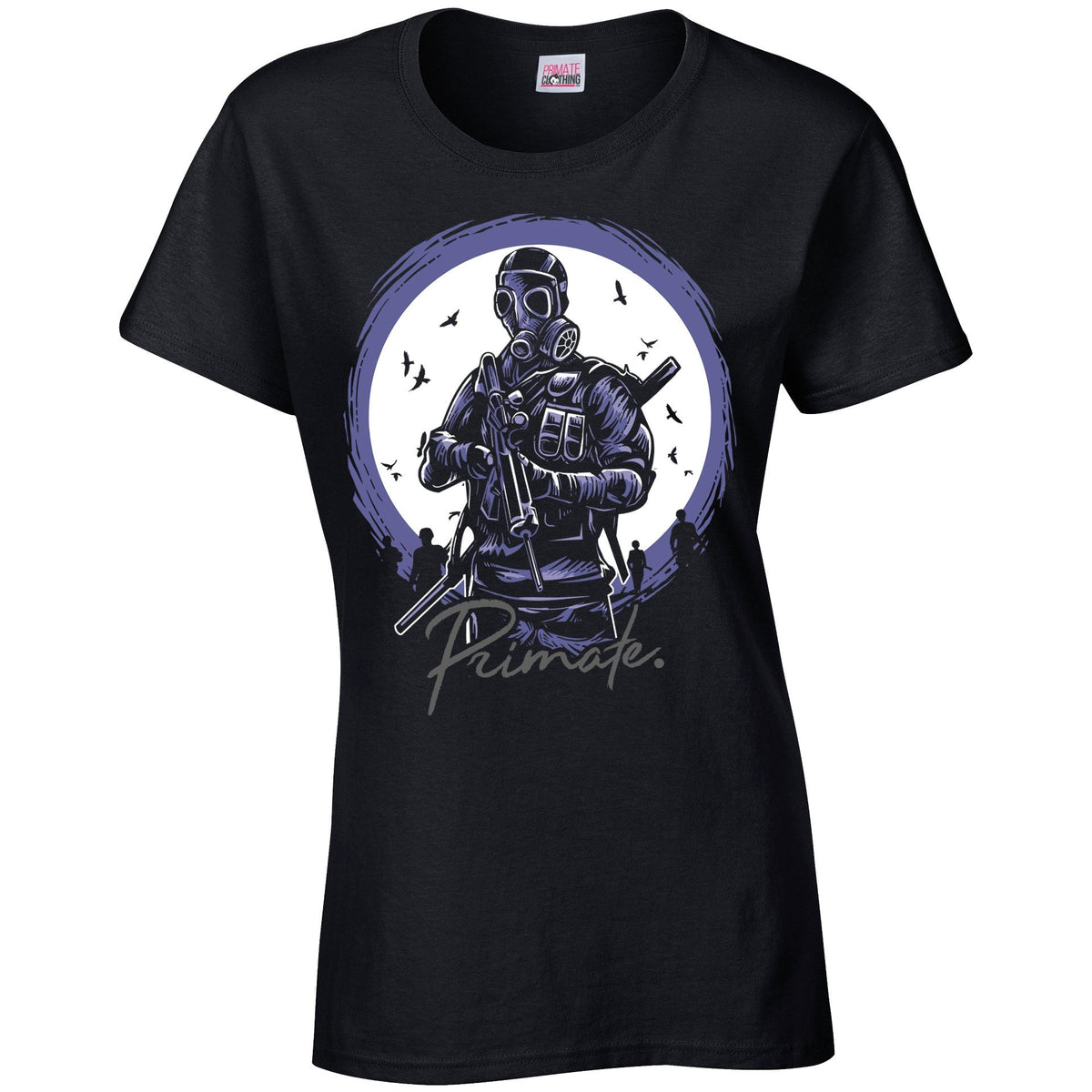 Gas Mask Soldier - T-Shirt Primate. Fashion Womens: Small
