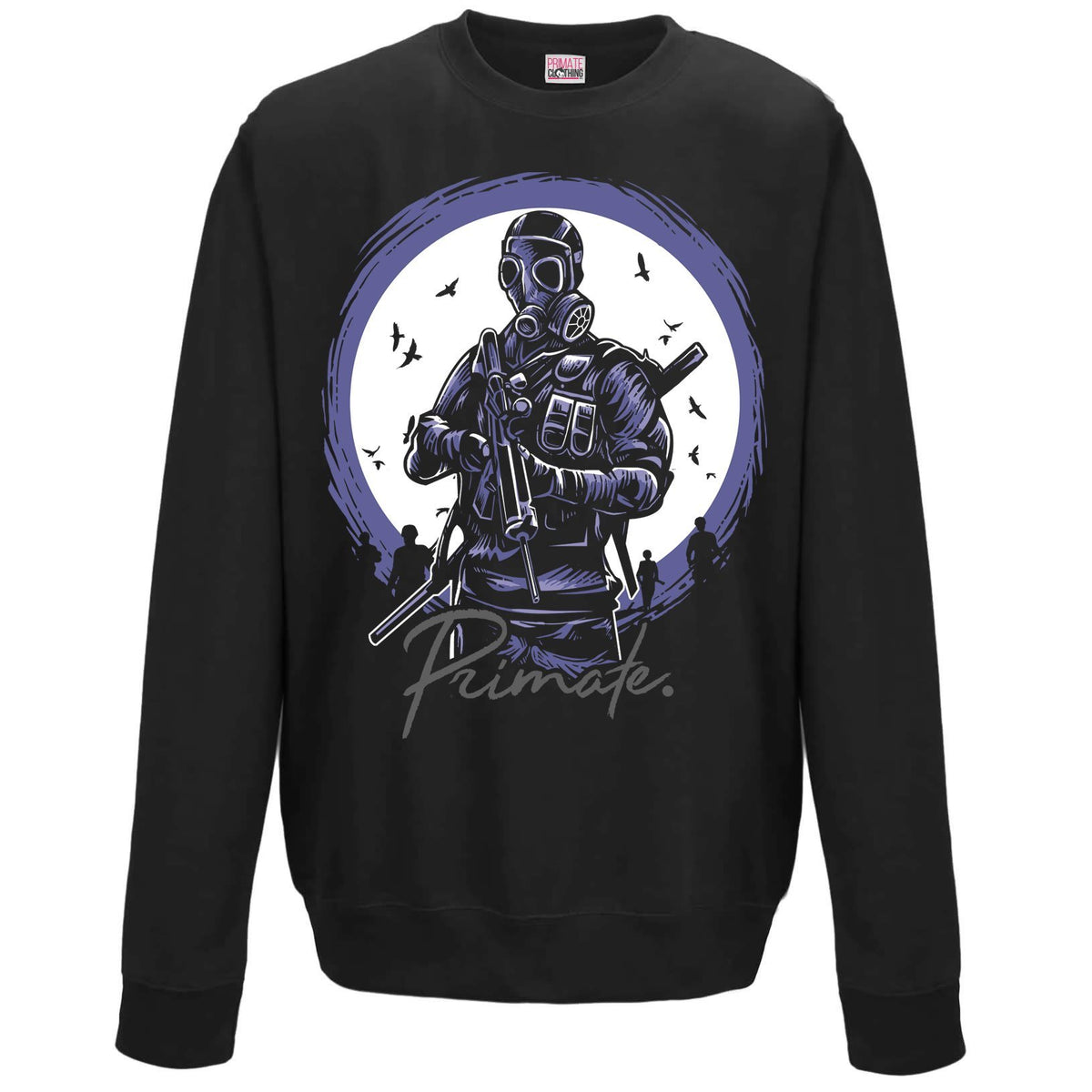 Gas Mask Soldier - Unisex Sweatshirt Primate. Fashion Adults: Small