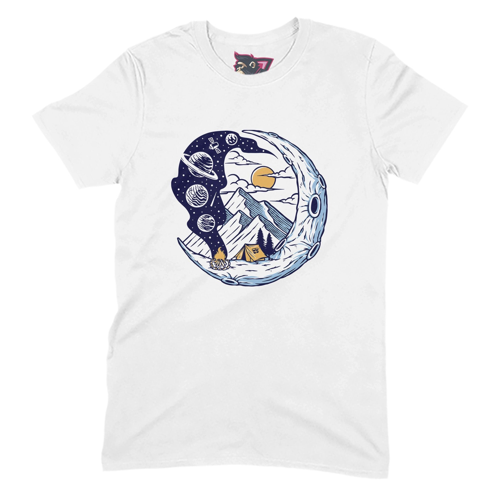 Moon Camping Primate Novelty Unisex T-Shirt Adults: S