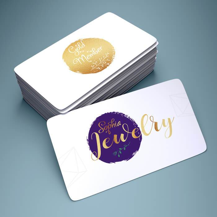 Plastic Business Cards (White) Print Media Gold Foil (One Side) 100
