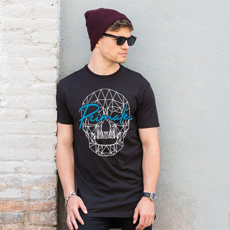 Primate. Fashion Longline Wireframe Skull T-Shirt Primate. Fashion