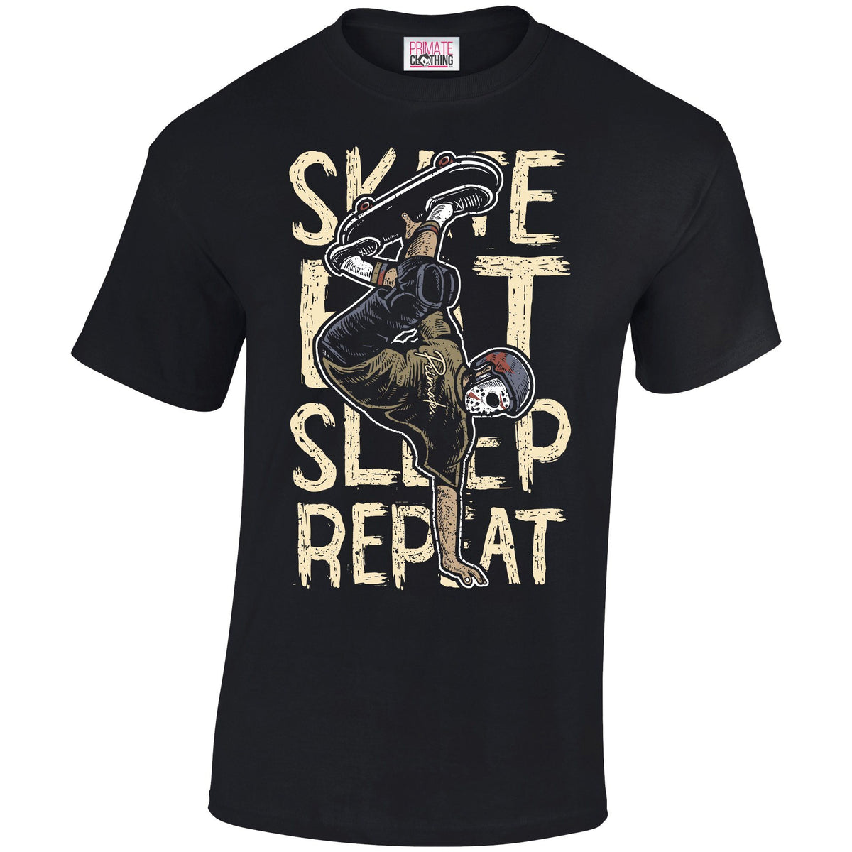 Skate Eat Sleep Repeat - T-Shirt Primate. Fashion Unisex: Small
