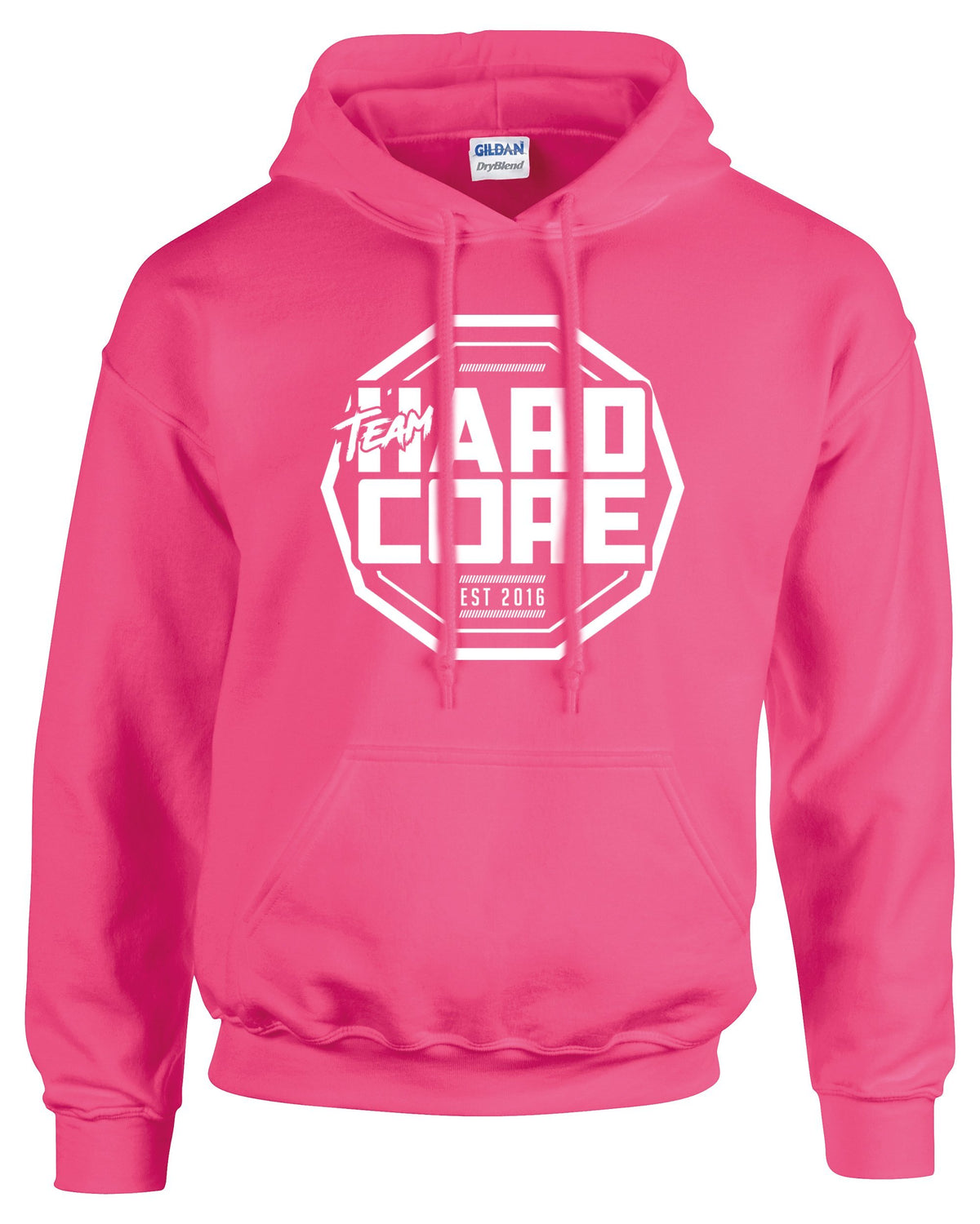Team Hardcore Unisex Hoodie - Hot Pink & White Team Hardcore Small