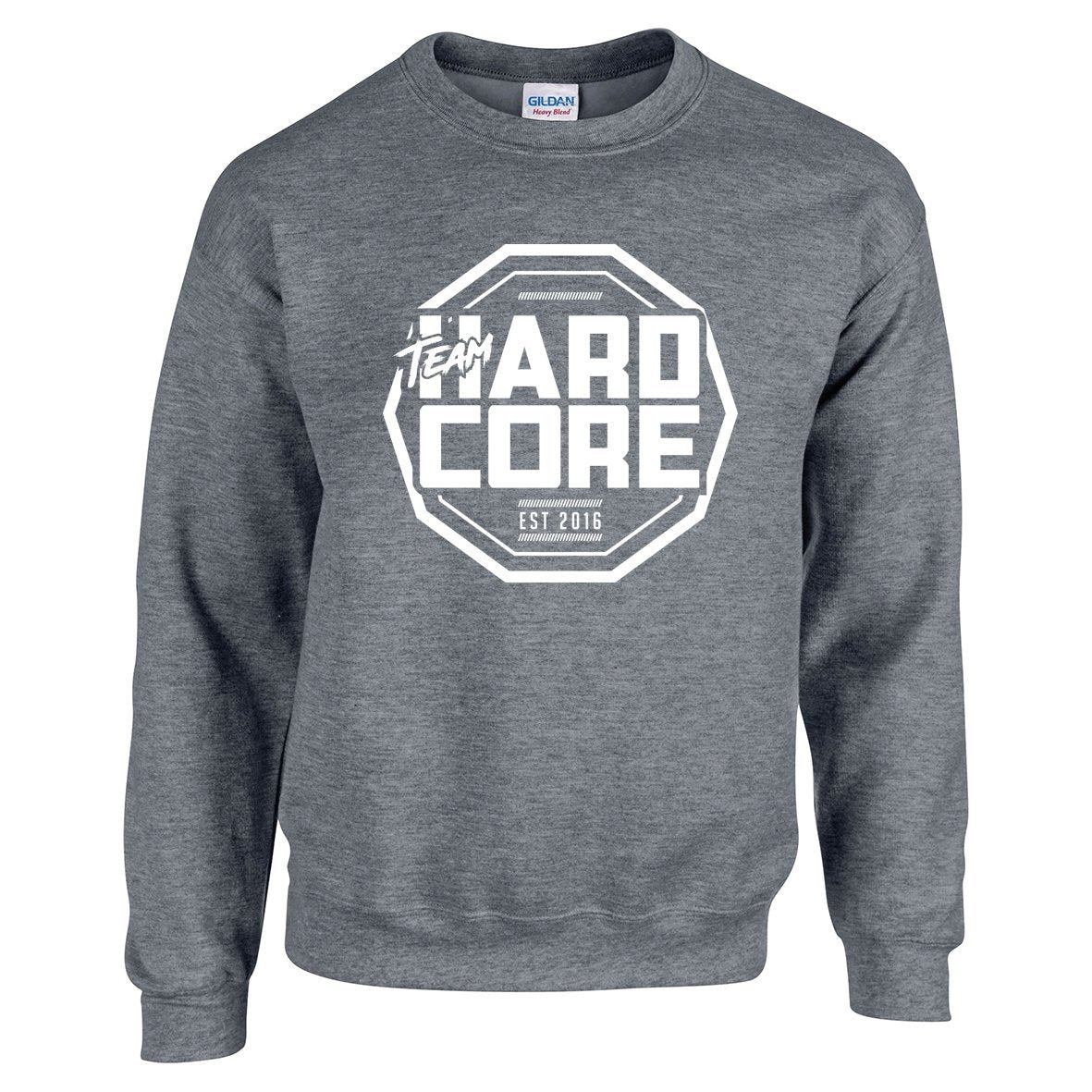 Team Hardcore Unisex Sweatshirt - Graphite Heather & White Team Hardcore Small