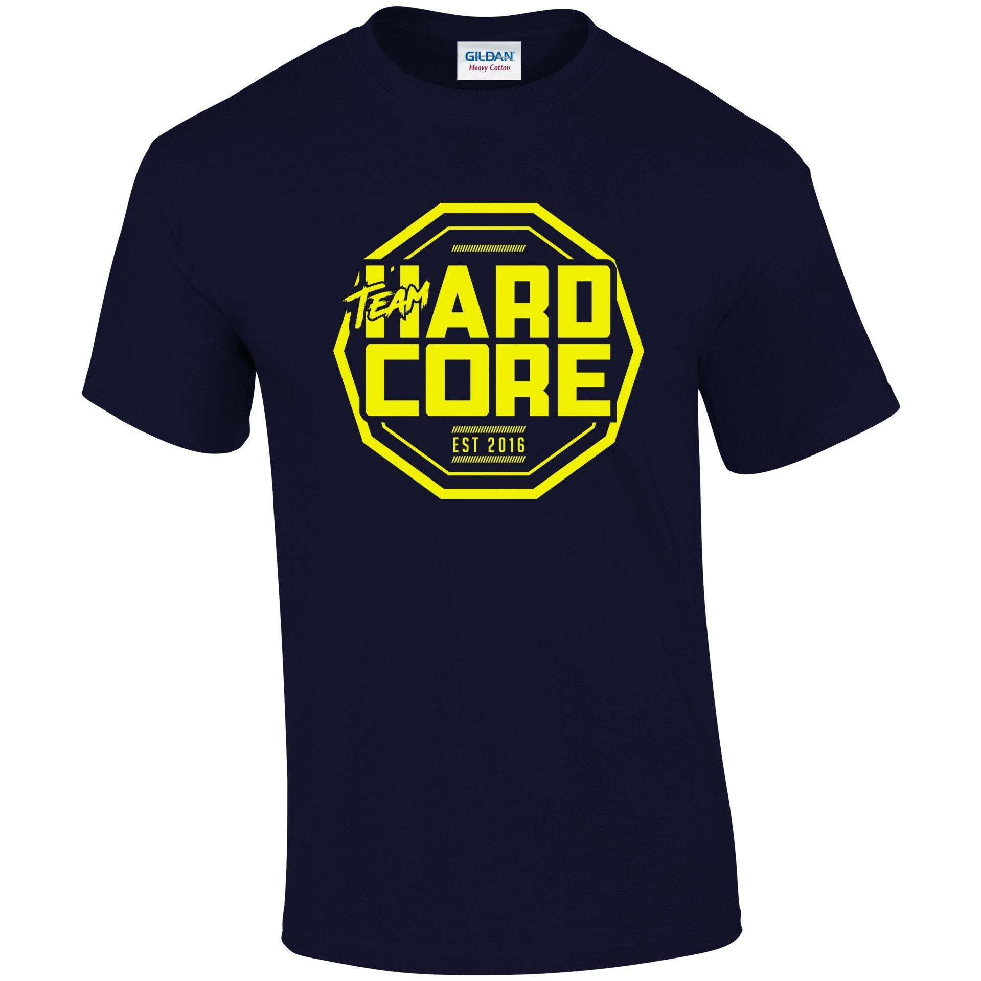 Team Hardcore Unisex T-Shirt - Navy & Yellow Team Hardcore Small