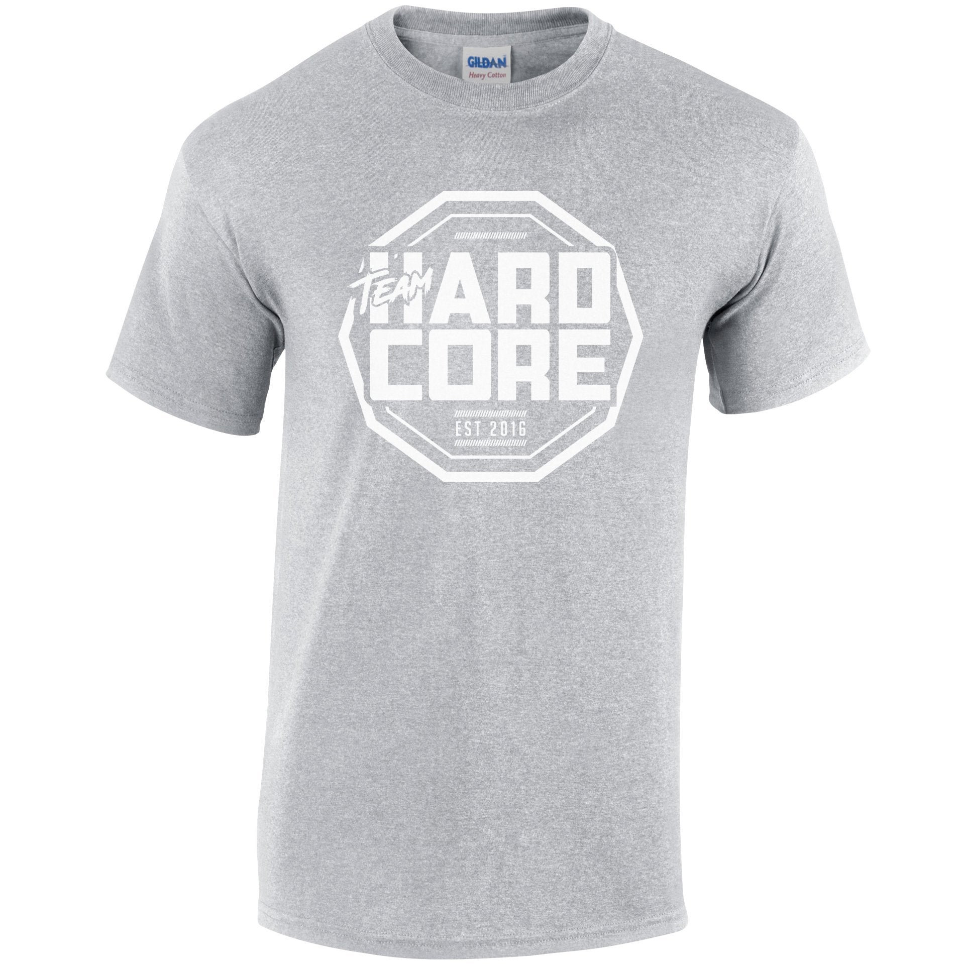 Team Hardcore Unisex T-Shirt - Sport Grey & White Team Hardcore Small