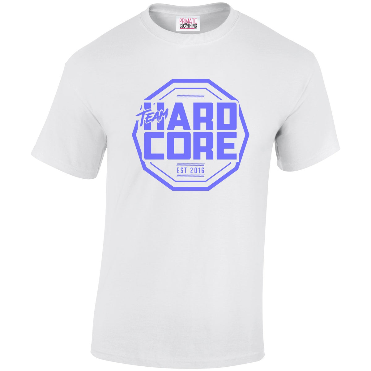 Team Hardcore Unisex T-Shirt - White & Sky Blue Team Hardcore Small