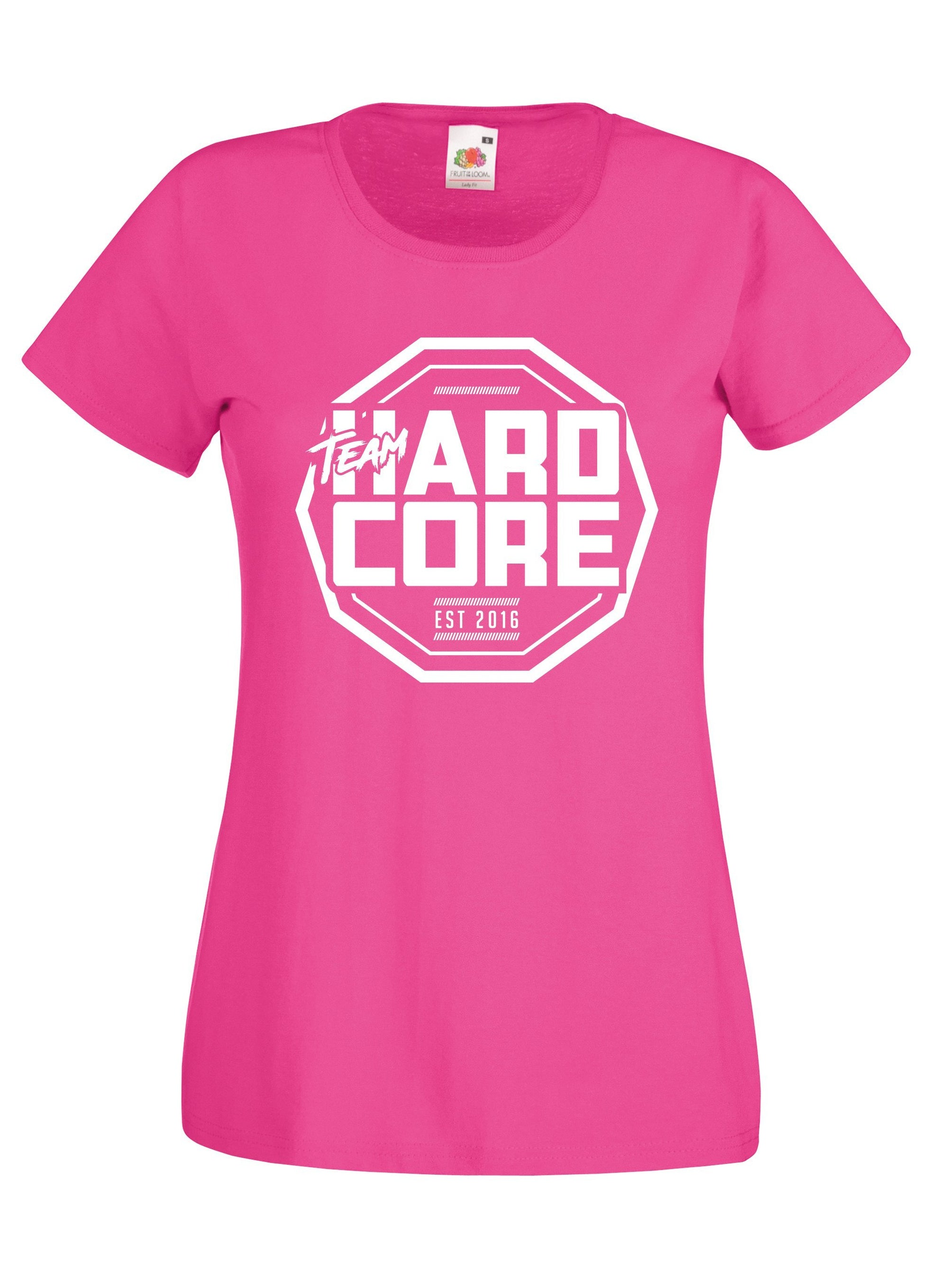 Team Hardcore Women's T-Shirt - Pink & White Team Hardcore Small