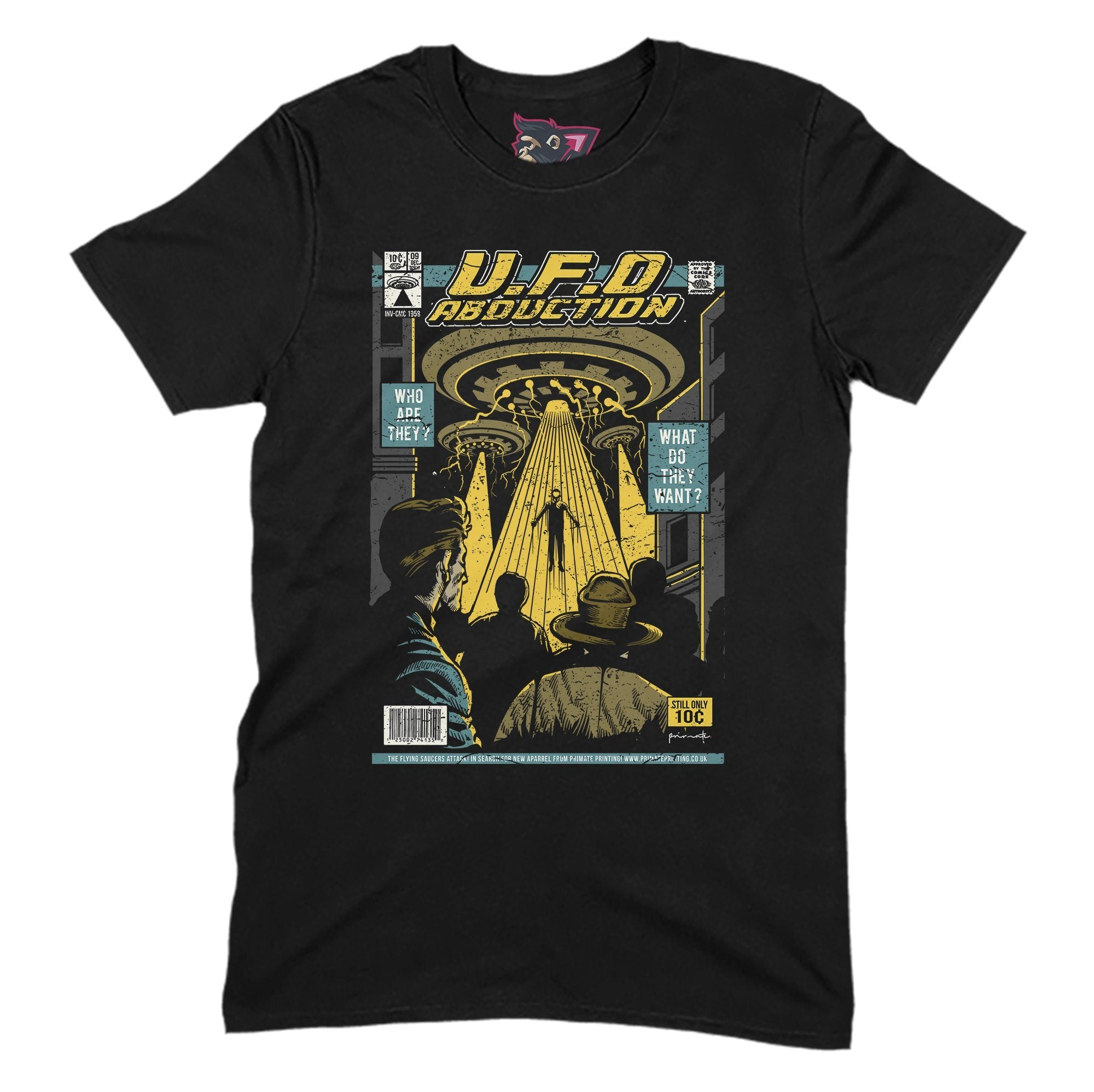 UFO Abduction Primate Novelty Unisex T-Shirt Adults: S