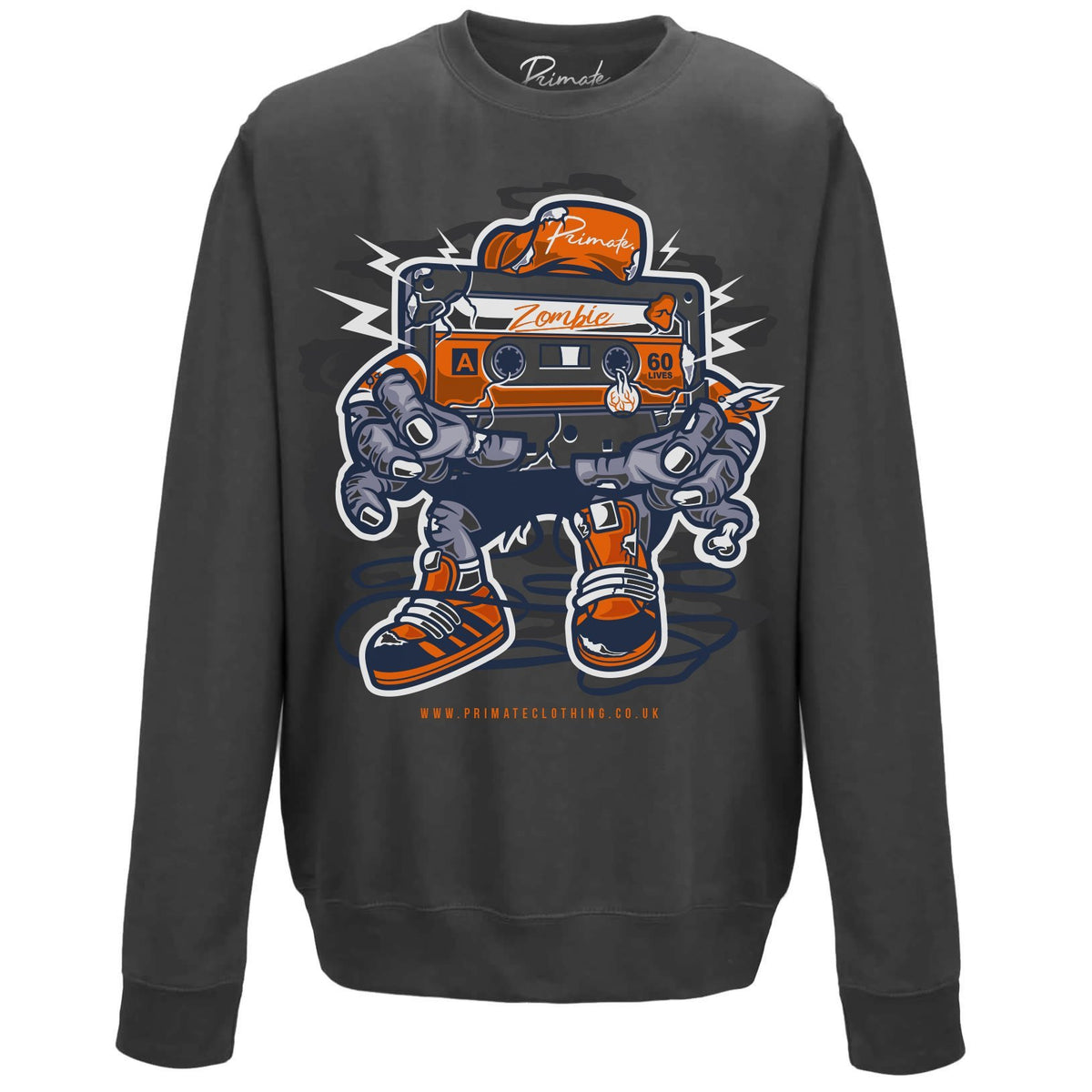 Zombie Cassette - Unisex Sweatshirt Primate. Fashion Adult: Small