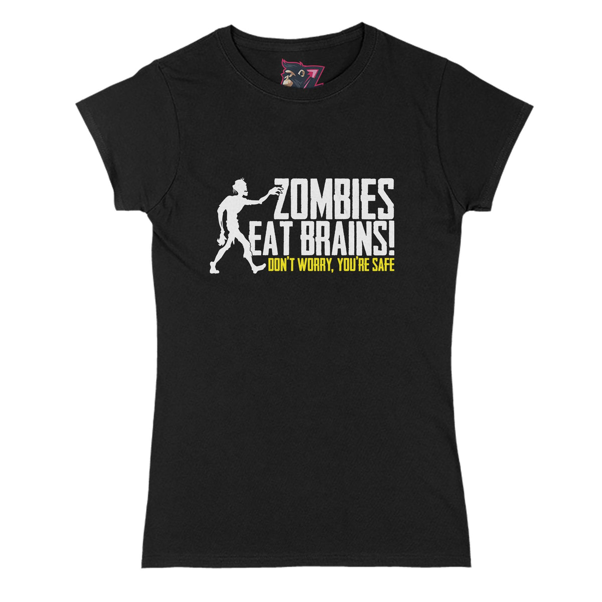 Zombies Eat Brains Primate Novelty Women's T-Shirt Adults: S