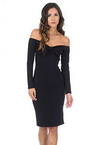 AX Paris Women's Off The Shoulder Midi Dress(Black, Size:6)