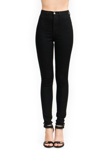 Vibrant High-Waisted Skinny Jeans, Black 1