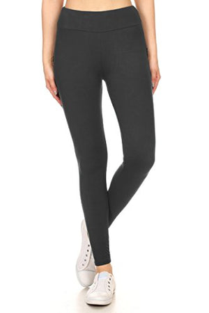 Leggings Depot YOGA Waist REG/PLUS Women's Buttery Soft Solid Leggings 16+Colors (One Size (Size 0-12), Charcoal)