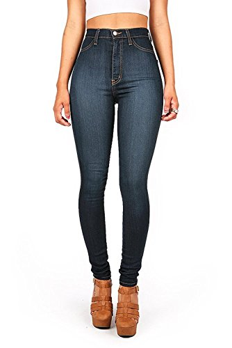 Vibrant Womens Juniors Classic High Waist Denim Skinny Jeans 3 Dark Denim