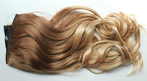 17 Inches 120grams Thick One Piece Half Head Wavy Curly Ombre Clip in Hair Extensions (Col. Light brown/sandy blonde) DL